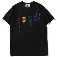 GUCCI 2019 new black and white two-color embroidery letter sequins round neck fashion wild T-shirt white