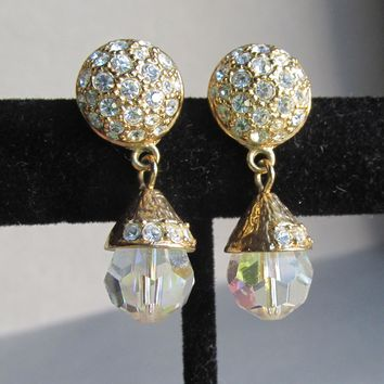 Nolan Miller Dangle Aurora Borealis Crystal & Rhinestone Gold Tone Party Earrings
