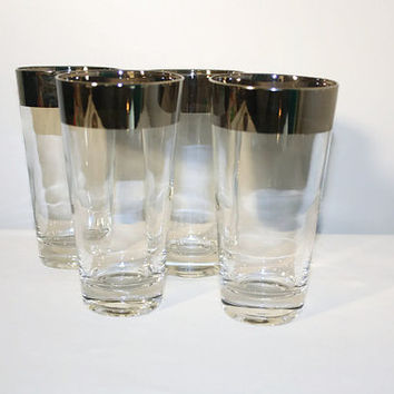 Silver Rimmed Cocktail Glasses Set of Four, Mid Century Mod Highball Tumbler