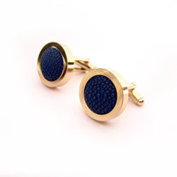 Luxury Exotic Stingray Skin Leather Gold Stainless Steel Cuff Links / Gift for Him / Fathers Day Gift / Stingray Cufflinks - Gift for Dad