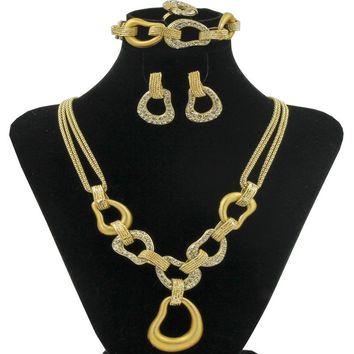 New Design Wedding Gold Jewelry Set Quality Crystal Lock Necklace