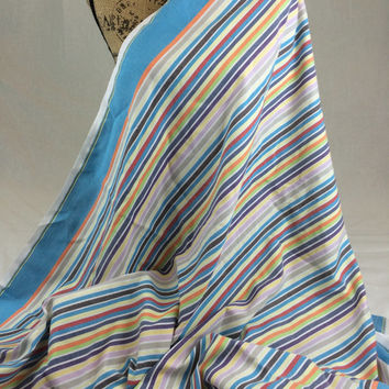 Kikoy Woven Cotton Fabric--Kenyan Fabric--Made in Kenya--Sky Blue and Multicolored Stripes--African Fabric by the HALF YARD