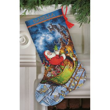 """Santa's Flight Stocking (16 Count) Dimensions Gold Collection Counted Cross Stitch Kit 16"""" Long"""