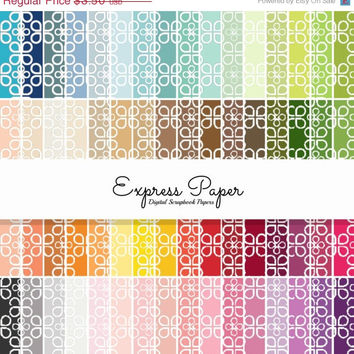 SALE 64 Clover Teardrop Digital Papers- 12x12 and 8.5x11 included- Digital Paper Rainbow includes dark, bright, neutral and pastel colors.