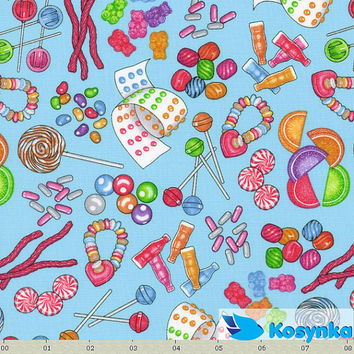 SALE Cotton print fabric - tossed candy fabric, Sweet Scoop by RJR - designer, food fabric, fabric by yard, yardage - 1 yard