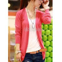 B5UT Women Irregular Hem Long Sleeve Cardigan Knit Sweater Candy Color New girl