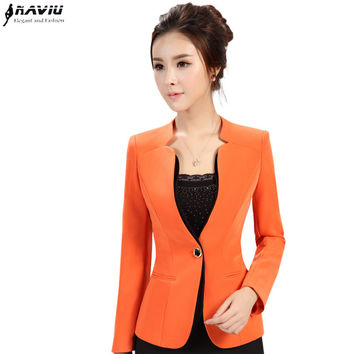 2015 autumn winter women's long-sleeve blazer plus size OL office formal female suit jacket work wear slim Patchwork outerwear