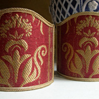 Pair of Clip-On Shield Shades Burgundy Red and Gold Rubelli Lampas Fabric Mini Lampshade