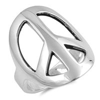 Sterling Silver Mega Thick Design Cut Out Peace Ring Sz 5-10