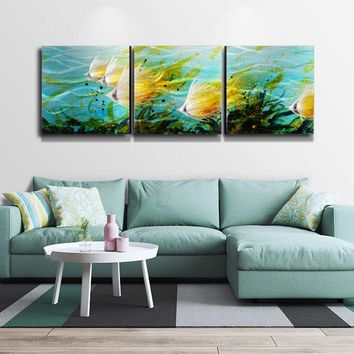 """Exquisite 3-panel Aluminum Wall Art Tropical Fish Wall Art Modern Painting Wall Sculpture Home Decoration Multicolor 71""""x24"""""""