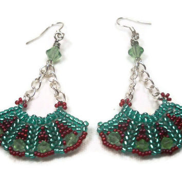 Mint Green Beadwoven Earrings
