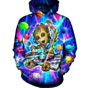 Newest Fashion Womens/Mens Harajuku Style Groot Funny 3D Print Casual Hoodies Pullovers Sweatshirts LMS00095