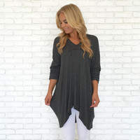 Lounge Around Sweater Top in Charcoal