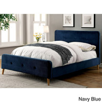 Furniture of America Celene Mid-century Modern Tufted Flannelette Queen-size Bed | Overstock.com Shopping - The Best Deals on Beds