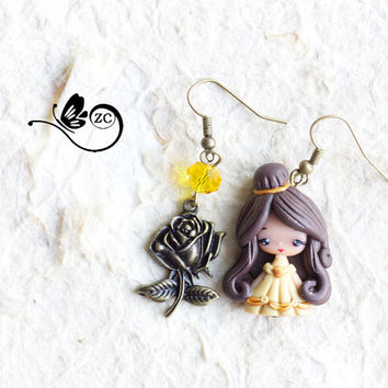 earrings clay / polymer clay / clay doll / fimo/ belle/ princess/ disney /wonderland