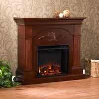 Sicilian Harvest Electric Fireplace, Mahogany