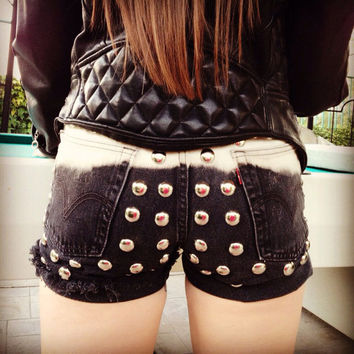 BLACK OMBRE High waist destroyed denim shorts super frayed with US flag and studs size Sm