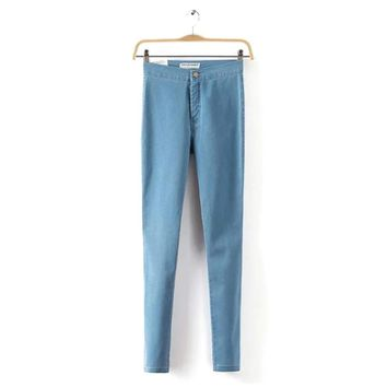 Women\'s High Waist Skinny Slim Denim Jeans Trouser Long Pencil Pants Stretchy 2017
