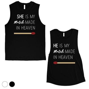 Match Made In Heaven Matching Muscle Shirts Cute Anniversary Gift