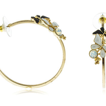 Goldtone Butterflies with Stone Open Ended Hoop Earrings (White/Black)