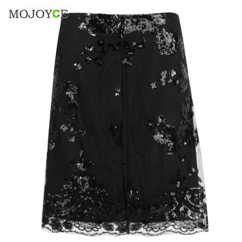 Vintage Lace Sequin Mesh Women Skirt High Waist Bodycon Embroidery Pencil Skirt Stitchwork Gauze Mini Skirts Womens SN9