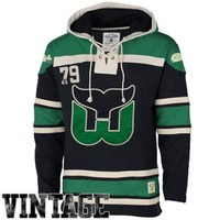 Old Time Hockey Hartford Whalers Lace Jersey Team Hoodie - Navy Blue