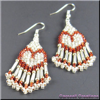Heart's Delight Beadwork Dangle Seed Bead Earrings in Red and White