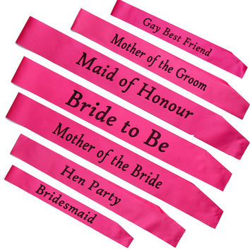 Wedding brides/bridesmaid party sash