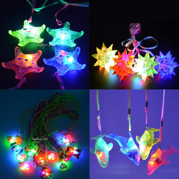 Jelly Star Heart Light Up LED Flashing Necklace Pendants Gift Rave Party