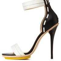 Black/White GX by Gwen Stefani Color Block Single Strap Heels