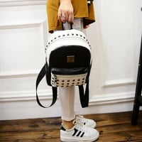 2016 spring fashion new black and white hit color quality pu leather shoulder bag women bag casual fashion rivet small backpack