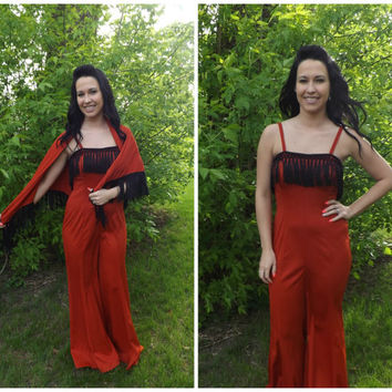 Vintage Red Fringe Jumpsuit Palazzo Flared Bellbottom Hippie Disco 70s S