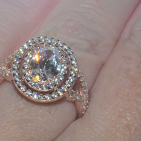 Sterling Silver Rose Gold Plated 1.25ct Oval CZ Ring