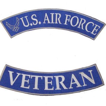 US AIR FORCE VETERAN ROCKER PATCH PATCHES SET FOR BIKER MOTORCYCLE JACKET VEST