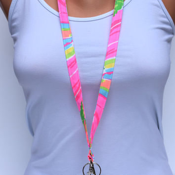 Lanyard, wrist strap, Lily Pulitzer lanyard, Pink and lime lanyard, badge holder lanyard, cute girly lanyard, lily pulitzer wrist strap