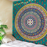Circle of Life Colorful Boho Home Fabric Tapestry