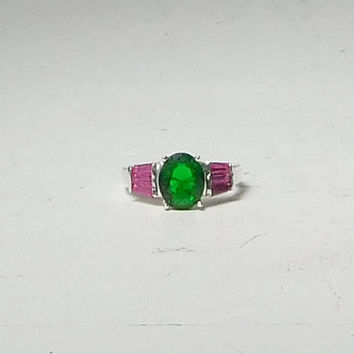 Green and Pink Rhinestone 925 Silver Overlay Ring Vintage Size 7 3/4 Costume Jewelry