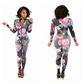 Floral Print Long Sleeve Bodycon Jumpsuit