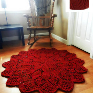 Giant Crochet Doily Rug in RED, Geometric Rug, round rug, Ruby Red, Cherry -boho chic area rug- floor, Cottage Chic- Oversized- shabby rug