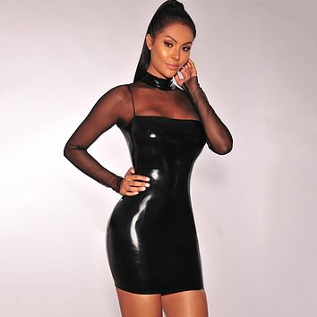 Women Black Shiny Faux Leather Bandage Dress Sexy Mesh Patchwork Bodycon Mini Dress Night Bar Pole Dancing CLubwear Vestidos