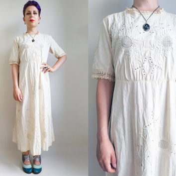 Edwardian Dress/ Antique 1900s Cream Dress Embroidered Cotton Hippie Boho Sundress Bohemian Dress Edwardian Wedding Dress Womens Size Small