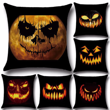 New Halloween Jack-o-lanterns Sofa Cushion Cover Pumpkin Lantern Home Decorative Pillowcases Cushion Case For Car Chair U0039