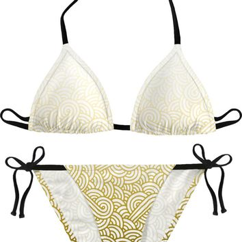 Gradient yellow and white swirls doodles Bikini