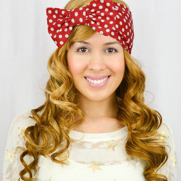 Turban Headband Bow RED Polkadots Head wrap Stretchy headband white head wrap Bohemian Headwrap white headband red headband wide headband