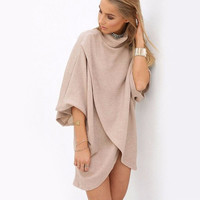 Apricot Turtle Neck Inverted Wrap Around Asymmetric Hem Dress