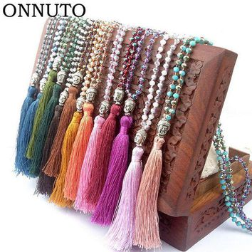 CREYLD1 2018 Arrival Long Tassel Neon Necklace Ancient Silver Alloy Buddha Head Pendant Faceted Glass Crystal Knot Women Jewelry