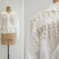 1910s Blouse - Vintage Edwardian White Cotton Embroidered Crochet Lace Blouse - Pont Neuf Blouse