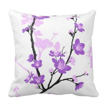 Japanese cherry blossom, royal purple, flower,girl pillows