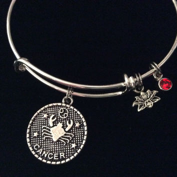 Cancer Zodiac Charm Lotus Red Ruby Birthstone Silver Expandable Bracelet Birthday Gift Bangle