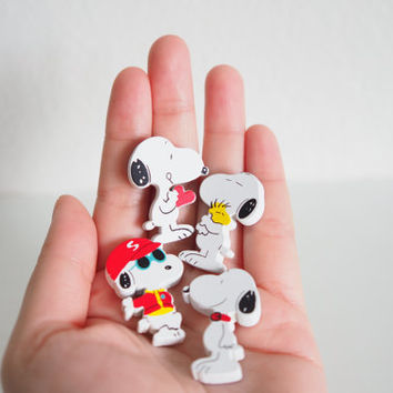 SALE Cute Snoopy Magnet Set, Wooden 4 Piece, Wood Animal Magnet Set, Home Decor, Cabin Decoration, Wood Cutout, Kitchen